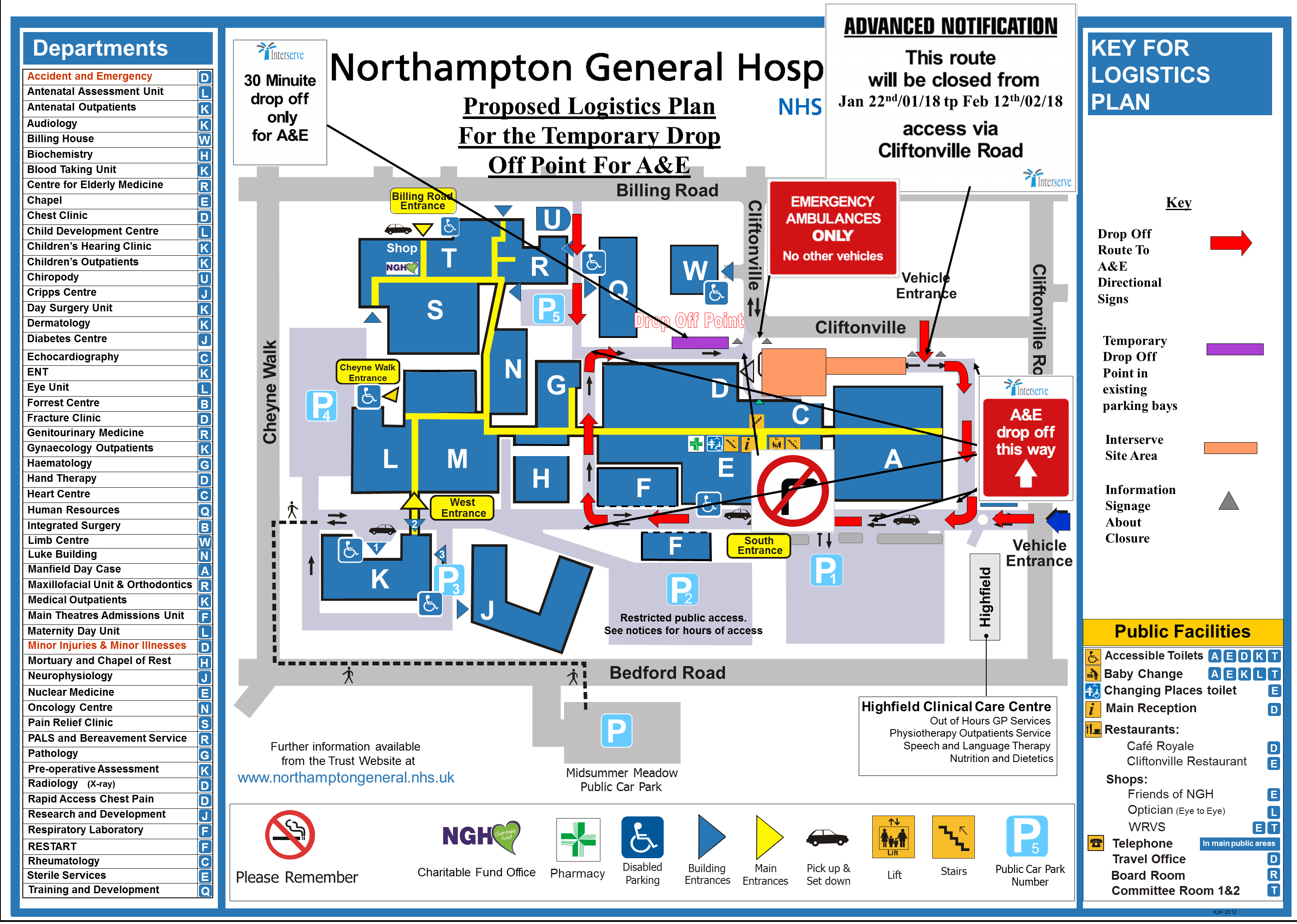 Northampton General Hospital Map 60 bed assessment unit update: 2nd planned traffic diversion Northampton General Hospital Map