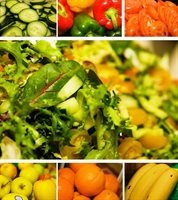 Montage of fresh fruit and vegetables