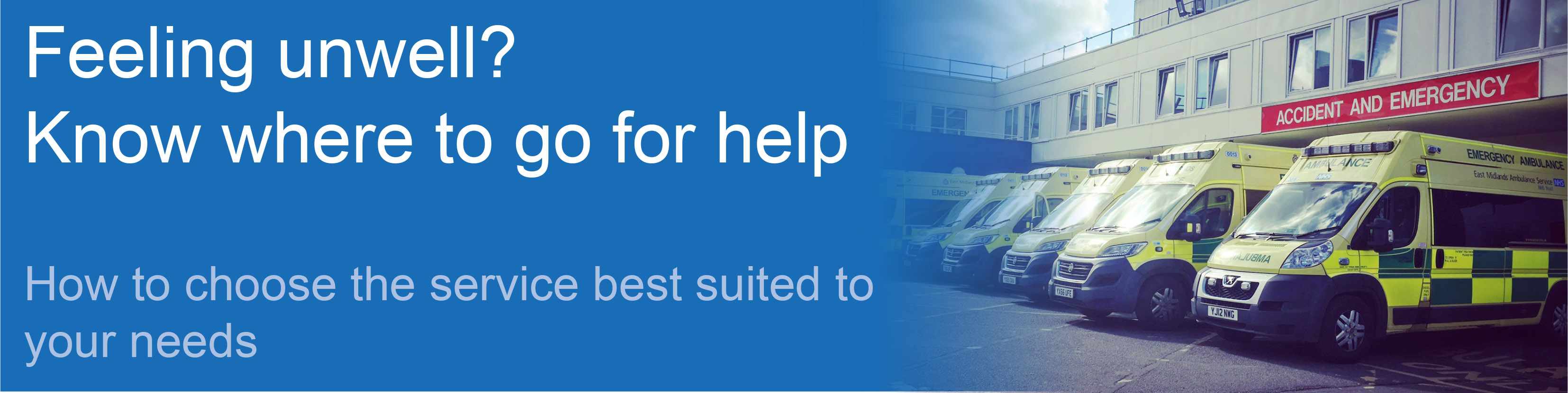 Feeling unwell? Know where to go for help. How to choose the services best suited to your needs